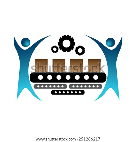 An image of a manufacturer team icon. - stock vector