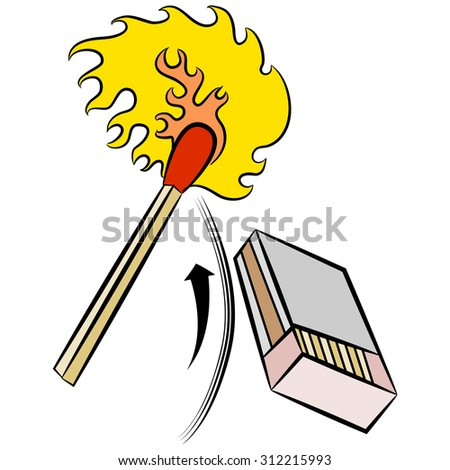 An image of a matchstick being ignited by striking a matchbox. - stock vector