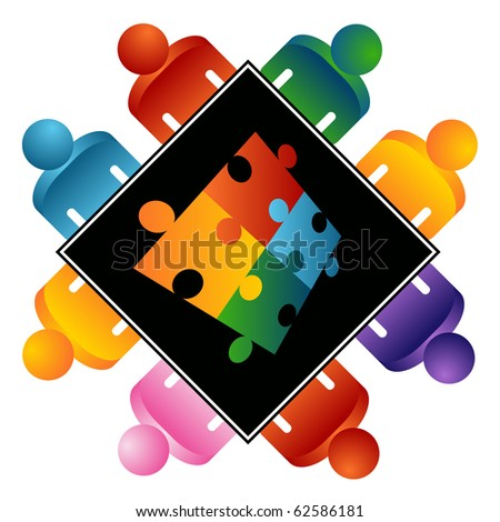 An image of a puzzle solving team. - stock vector