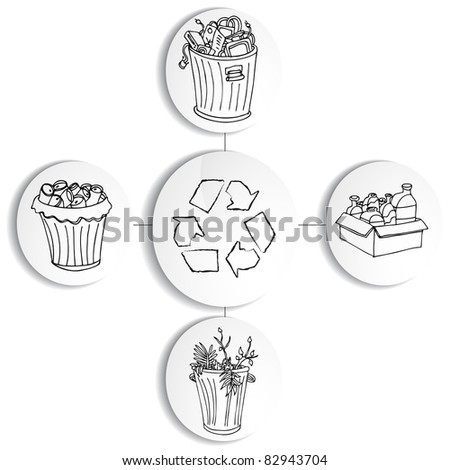 An image of a recycling trash bin chart. - stock vector
