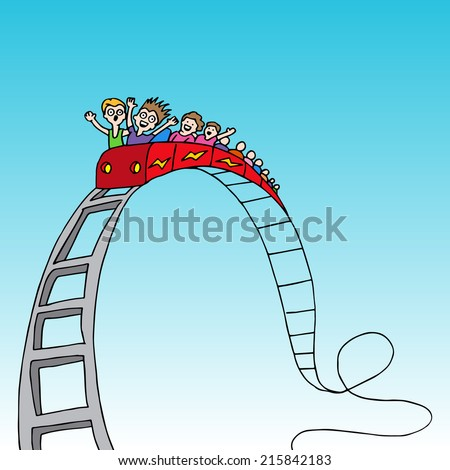 An image of a rollercoaster ride. - stock vector