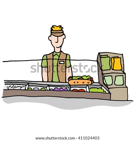 An image of a Sandwich shop worker making food. - stock vector