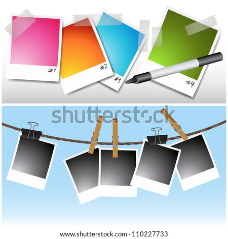 An image of a set of blank photos hanging on clothesline and taped. - stock vector