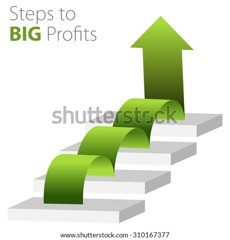 An image of a steps to big profits business background. - stock vector