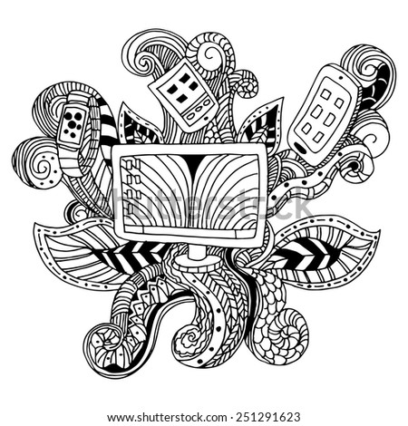 An image of a technology icon - zentangle style. - stock vector