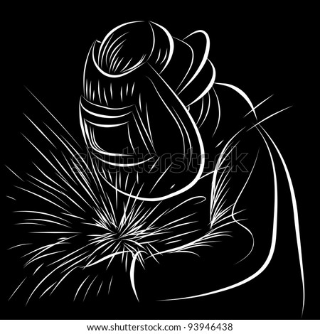 An image of a welder in a scratchboard style. - stock vector