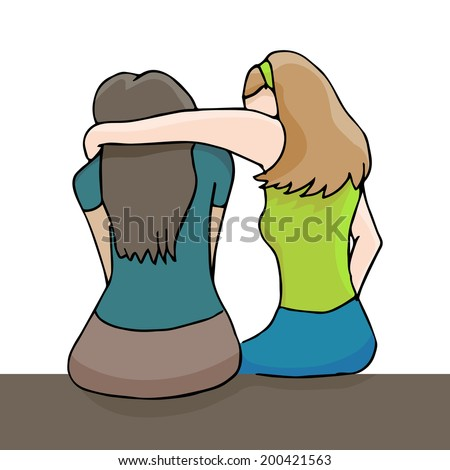 An image of a woman comforting a depressed woman. - stock vector