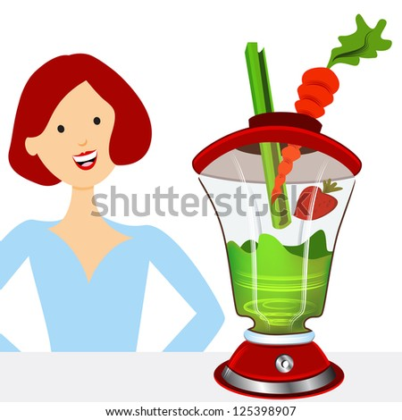 An image of a woman making a healthy smoothie. - stock vector