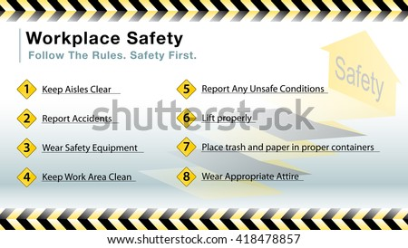 An image of a workplace safety slide. - stock vector