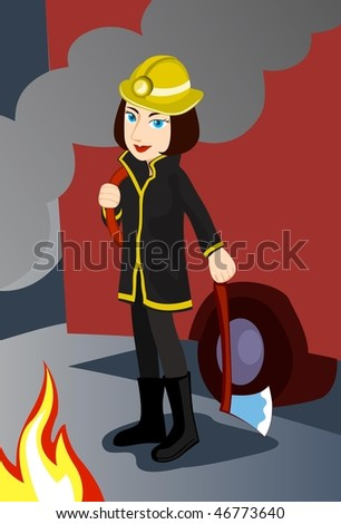 An image of a young female firefighter standing in front of a fire engine with an axe while there is a fire burning in front of her - stock vector