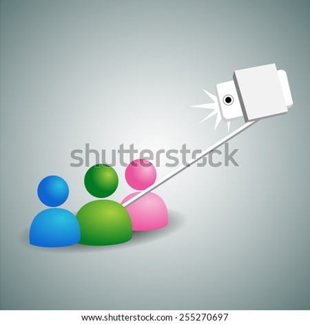 An image of abstract people taking a picture using a selfie stick. - stock vector