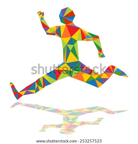An image of an abstract runner in a low poly style. - stock vector