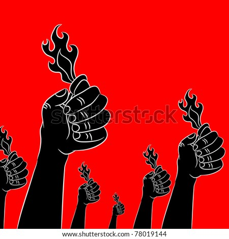 An image of an audience with lighters in the air. - stock vector