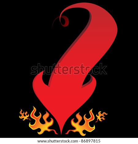 An image of an devil tail arrow with flames on a black background. - stock vector