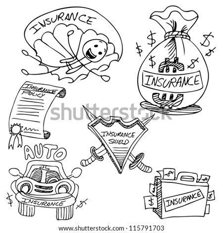 An image of an insurance drawing set. - stock vector