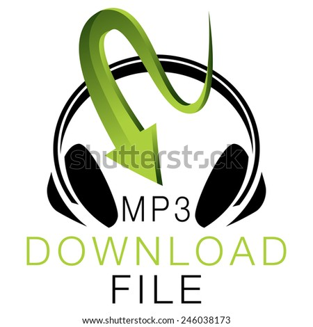 An image of an MP3 music download icon. - stock vector