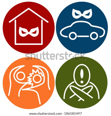 An image of crime alert icons. - stock vector