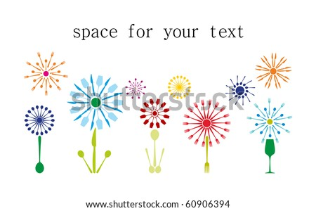 An image of cutlery in shape of flowers - stock vector