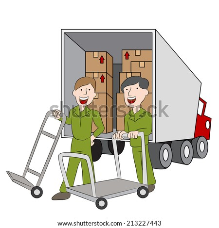 An image of employees of a moving company with their truck. - stock vector