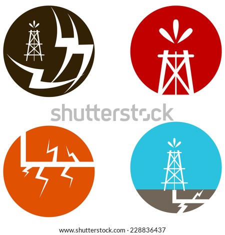An image of fracking oil icons. - stock vector