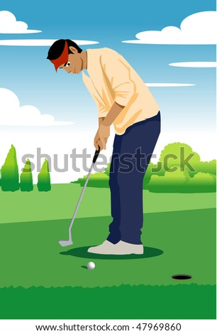 An image of man standing on the green ready to put the golf ball into the hole - stock vector