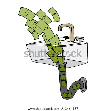 An image of money going down the drain. - stock vector