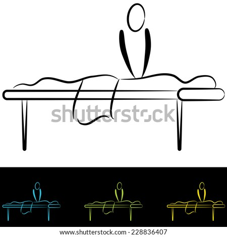 An image of people at a massage table. - stock vector