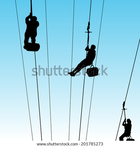 An image of people on a zip line. - stock vector