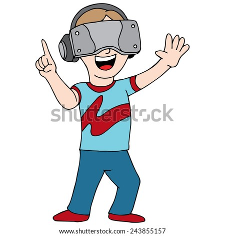 An image of someone playing a virtual reality video game. - stock vector