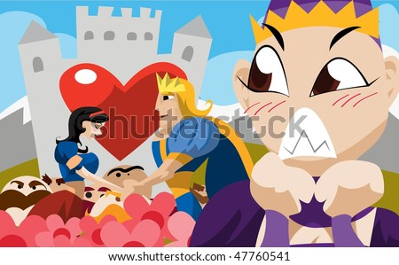 An image of the handsome young prince and Snow White holding hands in a garden in front of the prince's castle while the seven dwarves and the king look on. - stock vector