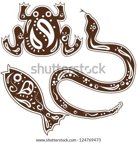An image of tribal snake, fish, frog animal art. - stock vector