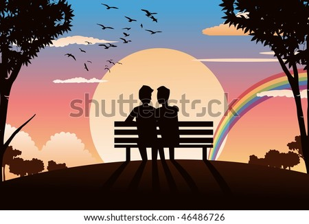 An image of two gay lovers sitting on a park bench and watching the sunset - stock vector