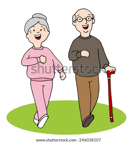 An image of two seniors walking. - stock vector