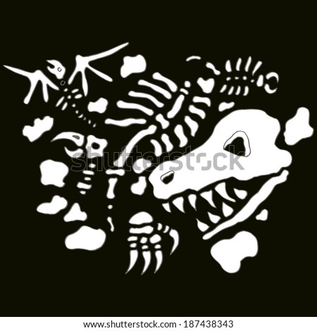 An image of underground fossils. - stock vector