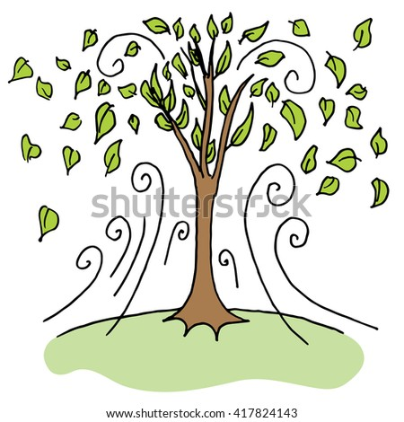 An image of upward gust blowing leaves off trees on a windy day. - stock vector