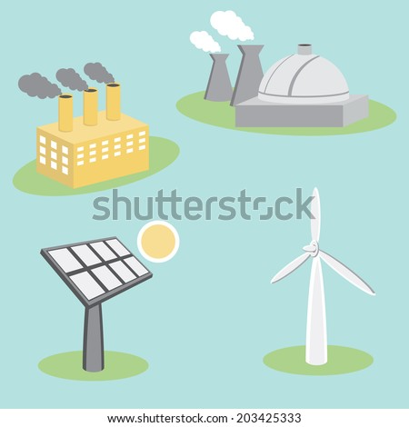 An image of utility energy company icon set. - stock vector
