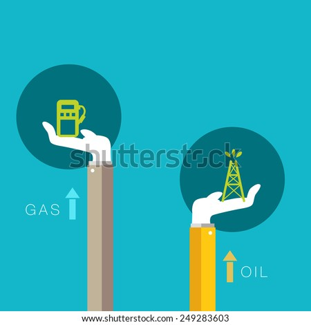An image representing rising support for oil and gas. - stock vector