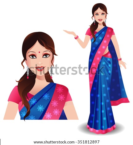 An Indian woman wearing a traditional beautiful saree and showing something - stock vector