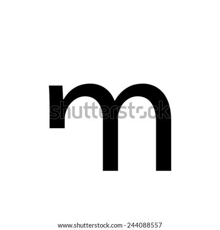 An Individual Alphabet Character of a Custom Font - Lowercase M - stock vector