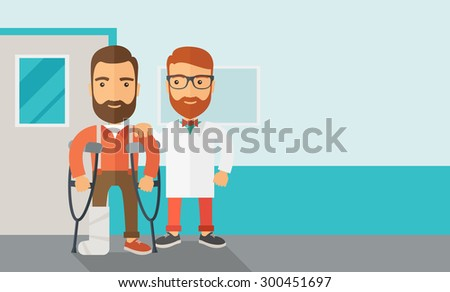 An injured man in crutches assisted by a doctor. Safety concept. Contemporary style with pastel palette, soft blue tinted background. Vector flat design illustrations. Horizontal layout with text - stock vector