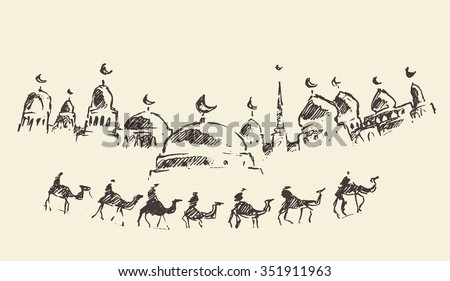 An Islamic greeting card for holy month of Ramadan Kareem, mosque silhouette with caravan of camels, vector engraved illustration, hand drawn - stock vector