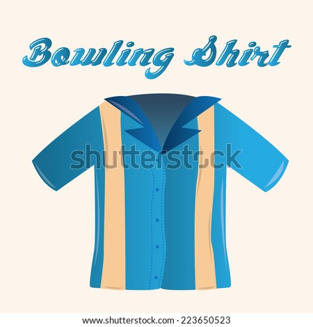 an isolated bowling shirt on a colored background - stock vector