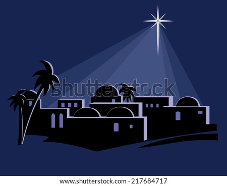 An isolated illustration of the town of Bethlehem at night, at the time of the birth of Jesus, with a bright star shining down on the buildings.  - stock vector