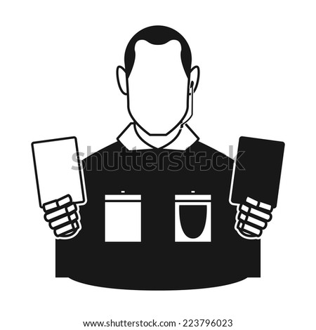 an isolated referee with a pair of soccer cards on a white background - stock vector