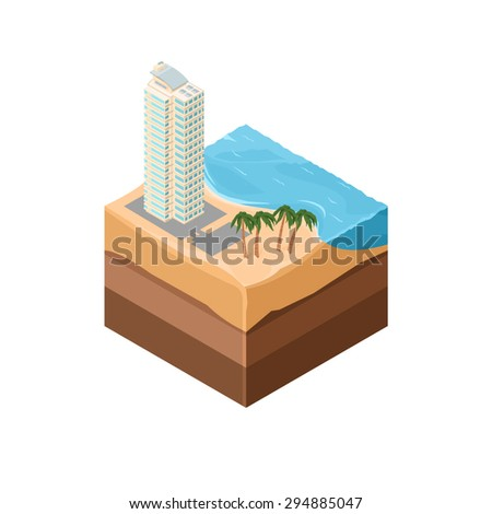 An isometric tile icon of a summer holiday vacation. Summer vacation illustration Icon. Hotel beach resort. - stock vector