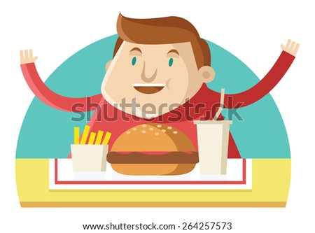 an obese man eating fast food - stock vector