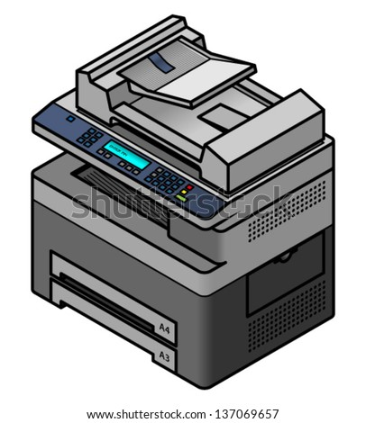 An office multi function scanner, printer, fax and copier. - stock vector