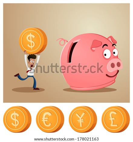 an office worker saving money into smiling piggy bank - stock vector
