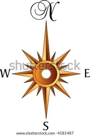 An old fashioned compass rose in sepia tones - stock vector