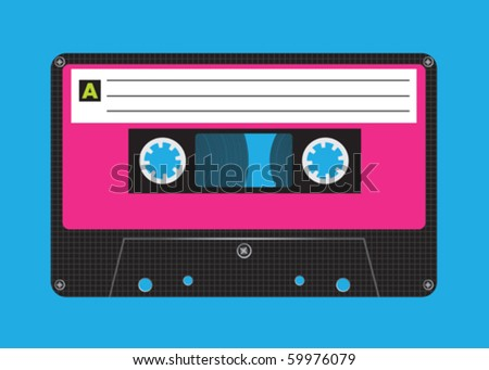 An old styled cassette, side A - stock vector